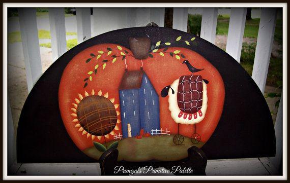Primitive citrouille-tournesol-mouton-automne-porte Couronne Topper-Home Decor décoration
