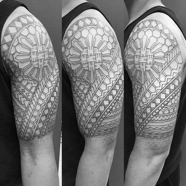 97756885e Half Sleeve Filipino Tribal Mens Tattoo Designs #filipinotattoossleeve