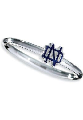 Part of the stack ring collection: this slim ring features the Notre Dame monogram in navy.