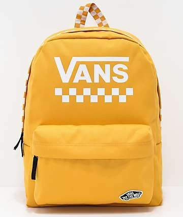 6d55d1b4c Vans Sporty Realm Yellow Checkerboard Backpack | Yellow Backpacks in ...
