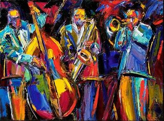 """Abstract Jazz Painting Music Art Bass Trumpet Paintings """"Jumpin"""" By Debra Hurd-SOLD-commissions welcome"""