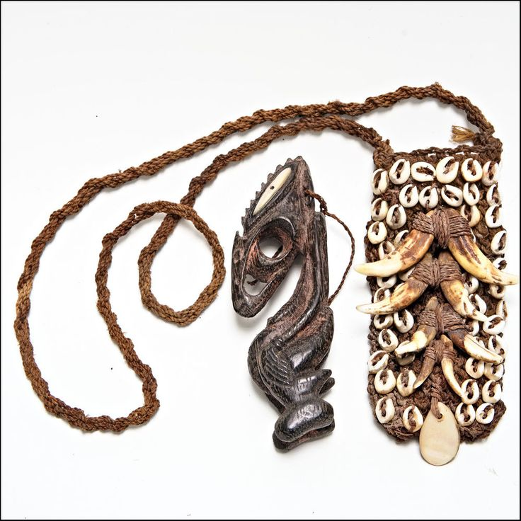 PNG Sepik Amulet Charm figure with shells, teeth and woven pouch - New Guinea