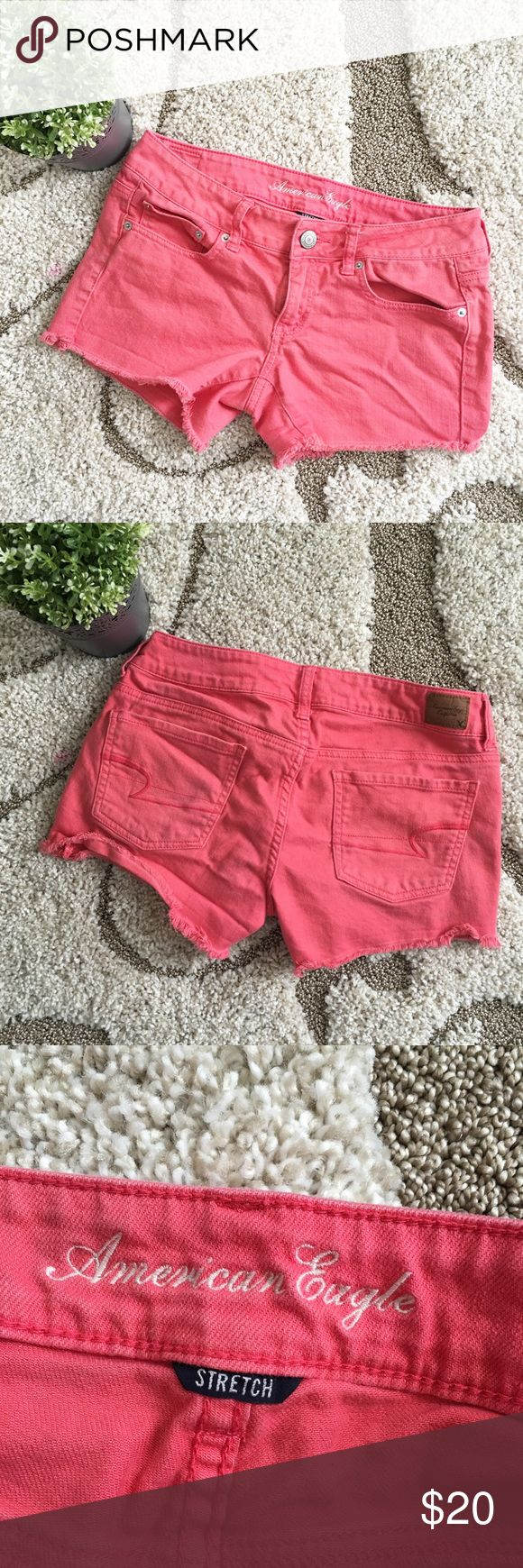 ☀️SALE☀️American Eagle Cut Off Jean Shorts Ameican Eagle pinkish coral cut off Jean shorts. Size 6 American Eagle Outfitters Shorts Jean Shorts