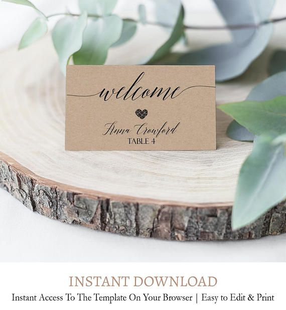 Editable Rustic Wedding Placement Cards Printable Kraft Etsy Card Table Wedding Wedding Table Name Cards Wedding Table Settings Diy