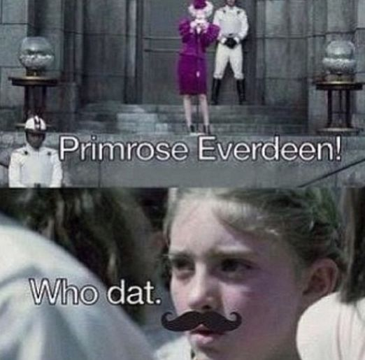 the hunger games, thg, suzanne collins, effie trinket, primrose everdeen, humour, funny, haha, lol
