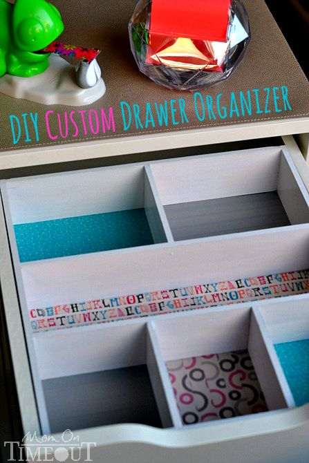 Add a pop of color and organization to those messy drawers with this DIY Drawer Organizer! | MomOnTimeout.com