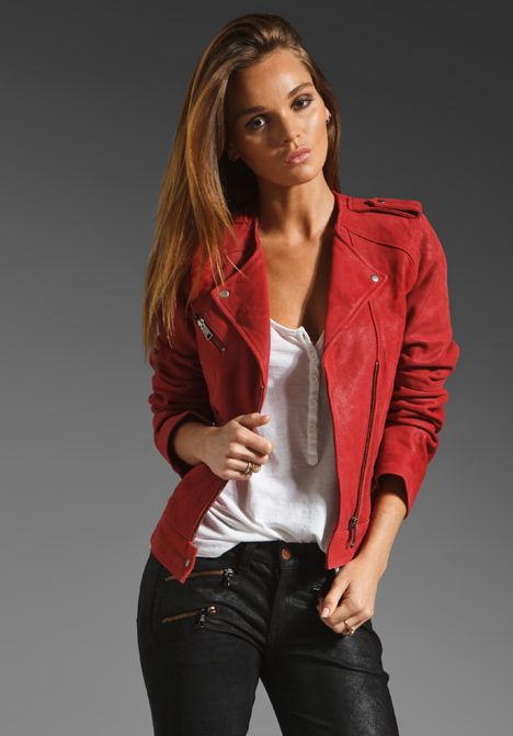 JOIE Lexandra Leather Motorcycle Jacket in Faded Scarlet