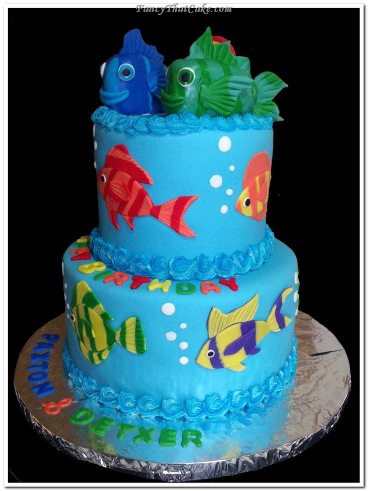 Tropical Fish Birthday Cake And Cupcakes