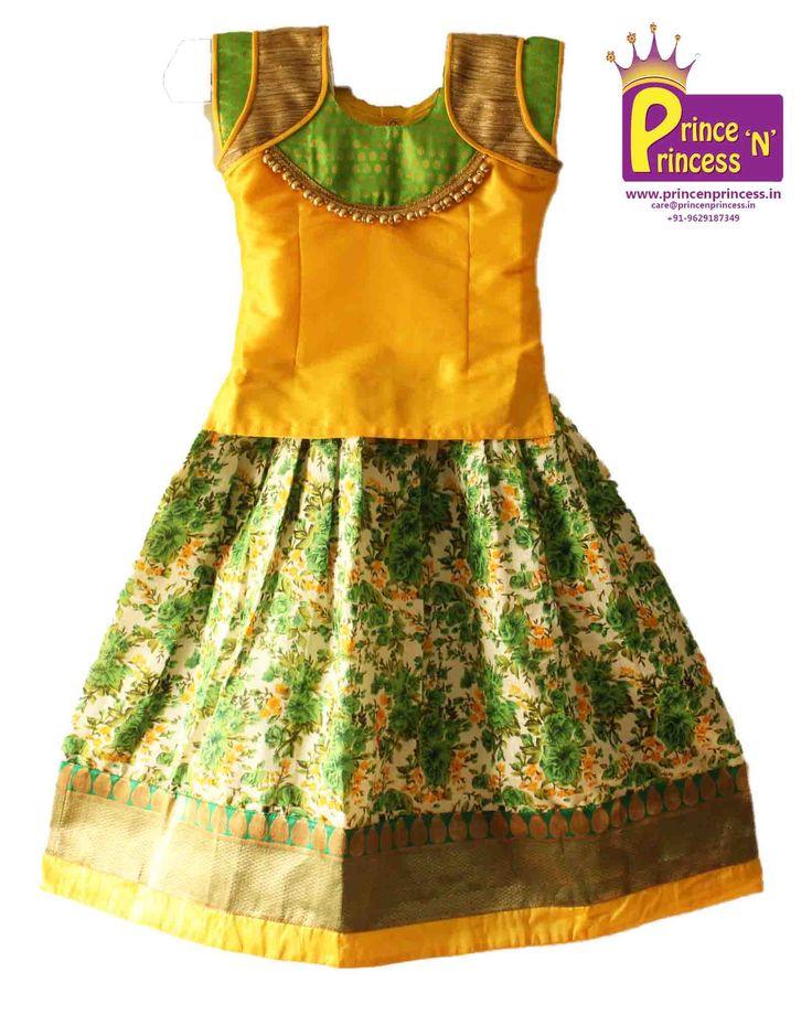 Kids Beautiful Traditional & Ethnic Floral design Pattu Pavadai Langa