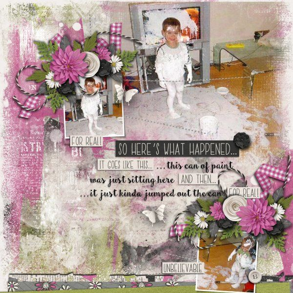 Kit So Here's What Happened by Created by Jill. Template A Little Bit Arty #8 by Heartstrings Scrap Art.