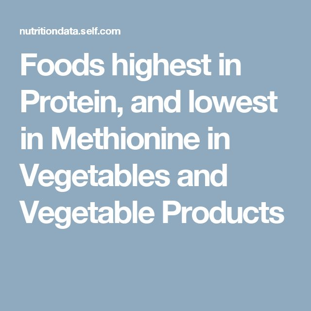 Foods highest in Protein, and lowest in Methionine in Vegetables and Vegetable Products