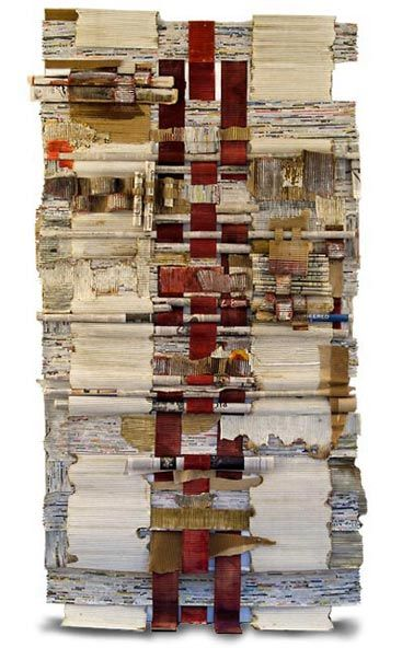 woven and rolled international newspapers, corrugated paper, handmade paper, graphite, paint and encaustic.