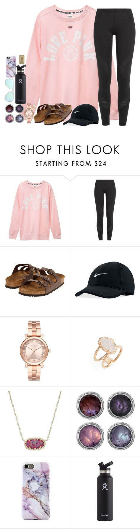""""""""""" by southernstruttin ❤ liked on Polyvore featuring Victoria's Secret, adidas, Birkenstock, NIKE, Michael Kors, Kendra Scott, Hydro Flask and Ray-Ban"""
