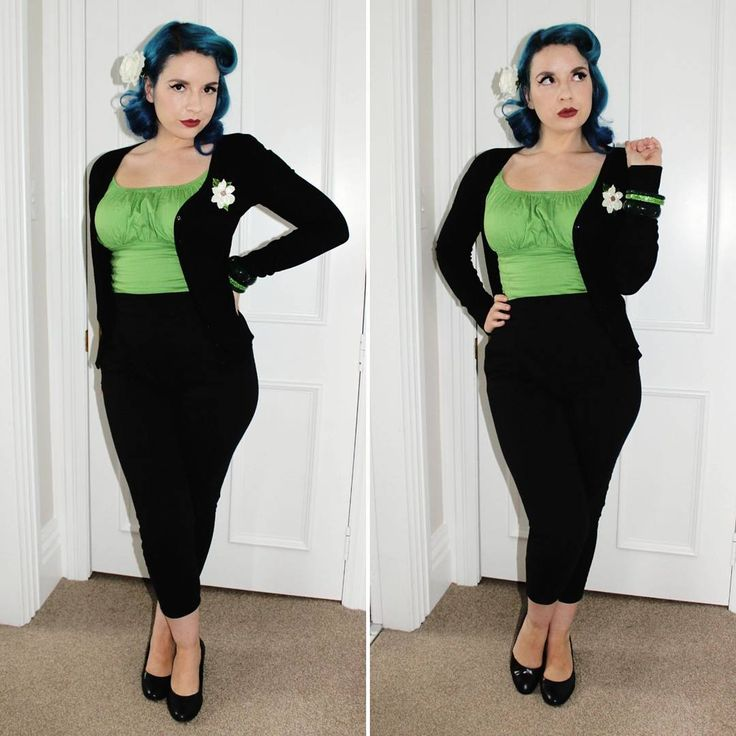 """299 Likes, 8 Comments - Libby Greatnews (@mrsgreatnews) on Instagram: """"It ain't easy being green. 💚 Top - @lebombshop Pants - Pinup Girl Clothing Brooch -…"""""""