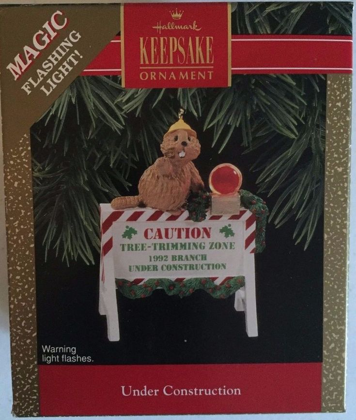 Under Construction 1992 Hallmark Keepsake Ornament Flickering Lights QLX73 #Hallmark
