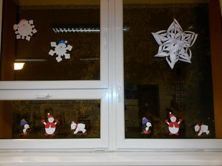 Téli dekoráció az osztályteremben