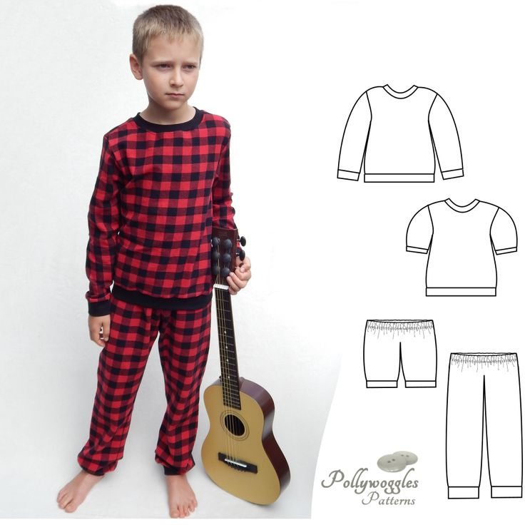 The Skyler & Jordan pajama set is a PDF pattern by Pollywoggles.