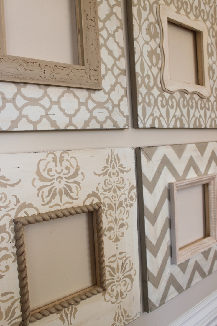 stenciled frames... I don't craft, but I'll buy something that looks like it! ;)
