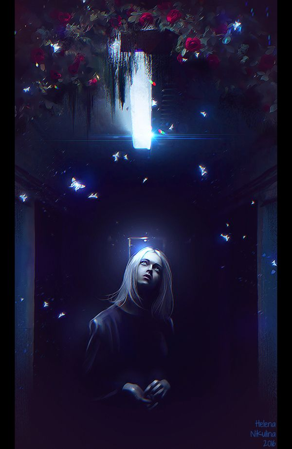 The light in the darkness. арт, свет, тьма, бабочки летают, растения, Елена Никулина, Коридор, женщина