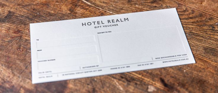 We love these Gift Vouchers we printed for #Hotel Realm (through Swell Design). Clean, simple - in a word, classic.