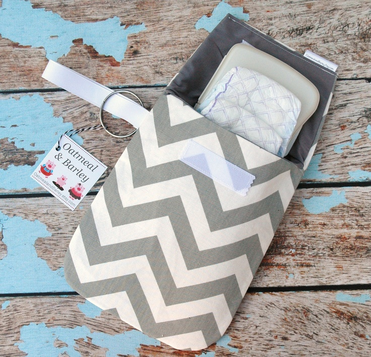Gray chevron Diaper clutch -Stroller bag -Travel bag -Nappy bag