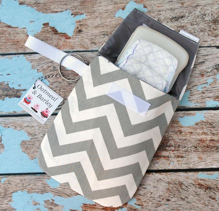 Gray chevron Diaper clutch -Stroller bag -Travel bag -Nappy bag