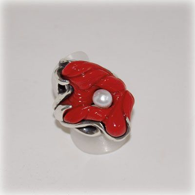 Sterling silver ring with authentic red coral from the Aegean sea, and a pearl. Entirely handmade in our workshop.