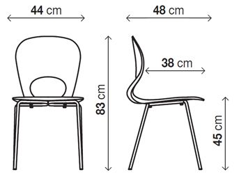 non stacking chair measurement H: 83cm x W: 44cm x D: 48cm. Polyurethane structure with polished chrome steel base