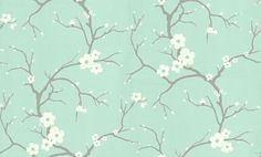Blossom Soft Jade (30-032) - Dulux Wallpapers - This beautiful sprigged blossom design brings a touch of the Orient to any decorating scheme. Showing in Soft Jade - other colour ways available. Please request a sample for true colour match. Paste-the-wall product.