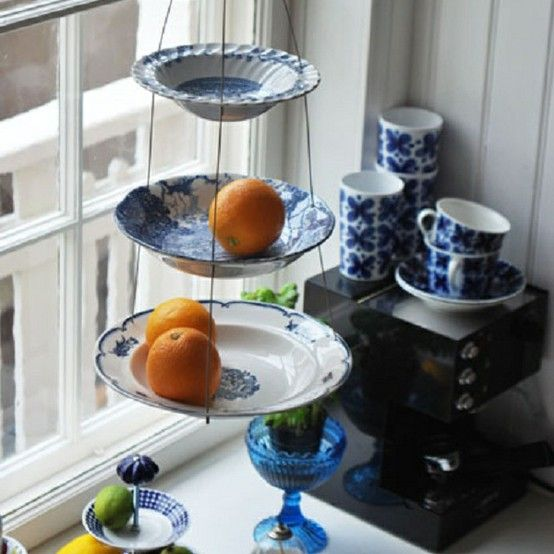 Great idea for re-purposing mismatched plates and bowls.
