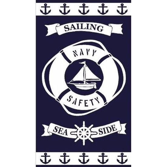 Strandlaken Sailing 95/100 x 175 cm. Vrolijk gekleurd strandlaken met nautische print voor volwassenen. De handdoek is ongeveer 95/100 x 175 cm groot en gemaakt van 100% katoen velours jacquard, 440/470 gr/m2.