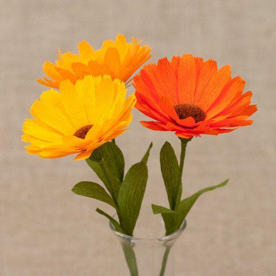 Calendula  Set of 3 pcs / Paper Flowers Paper Anniversary