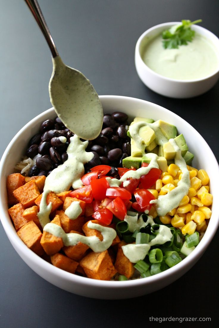 EASY sweet potato and black bean rice bowl with a southwestern flair! Topped with a flavorful creamy cilantro-lime cashew sauce (vegan, gluten-free)
