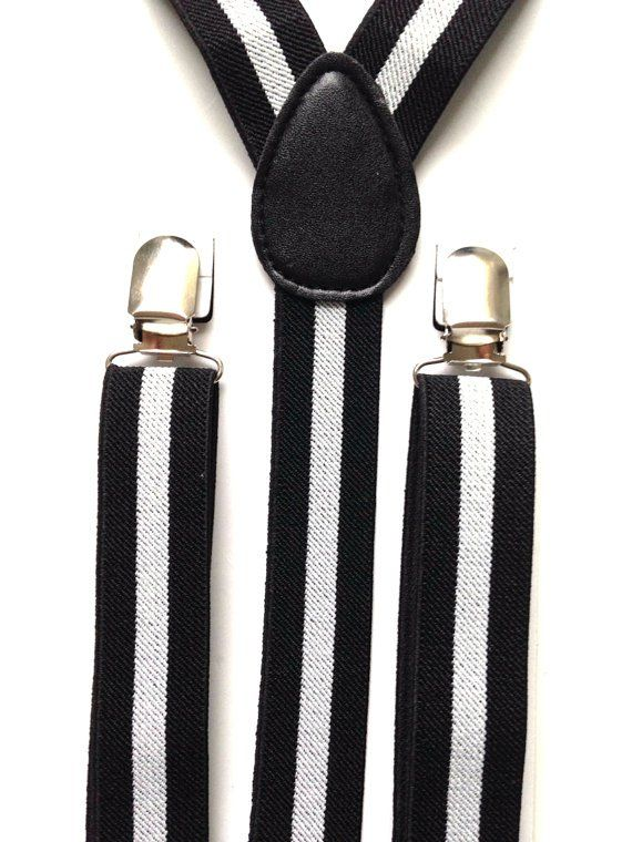Black and white suspenders | Black and White Wedding Color Board - http://emmalinebride.com/color/black-and-white-wedding-color-board/