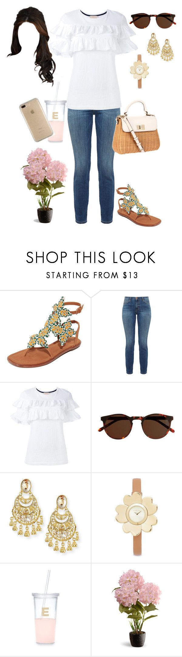 """""""Springtime"""" by lilymae1997 ❤ liked on Polyvore featuring Tory Burch, Current/Elliott, Kate Spade, J.Crew, Oscar de la Renta, Michael Kors, National Tree Company and Speck"""
