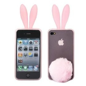 Bunny Rabit Silicone Case Skin for Iphone 4 Stand Tail Holder $3.93