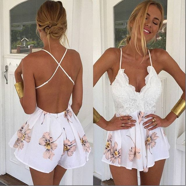Feitong 2016 macacao feminino Summer Lace Halter V Neck Floral Playsuit Sexy Shorts Rompers Womens Bodysuit Overall Jumpsuits
