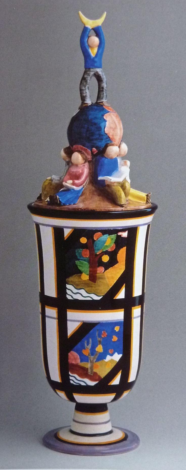 'The World and the Moon', vase by Mario Sturani, 1930 Lenci, Turin, Italy.