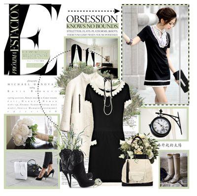 Черное платье с белым воротником и пальто