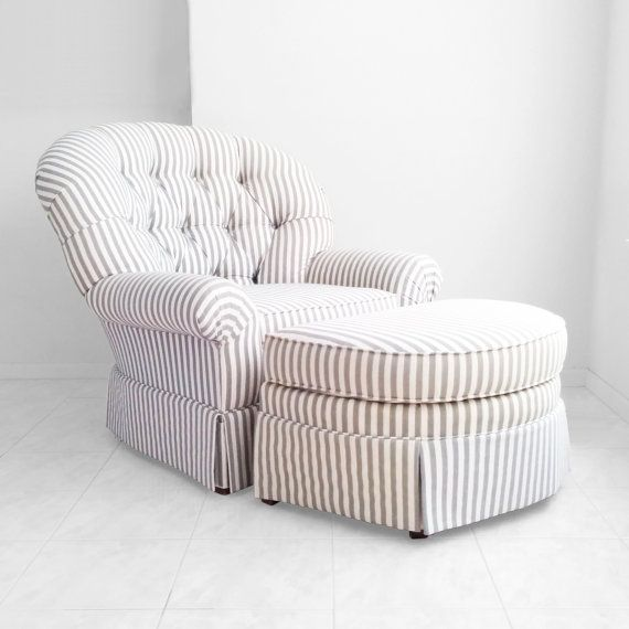 Gray Amp White Pencil Striped Tufted Overstuffed Arm Chair W