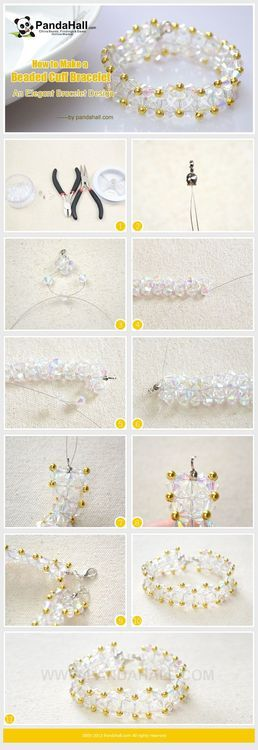 Jewelry Making Tutorial-How to Make a Beaded Cuff Bracelet | PandaHall Beads Jewelry Blog