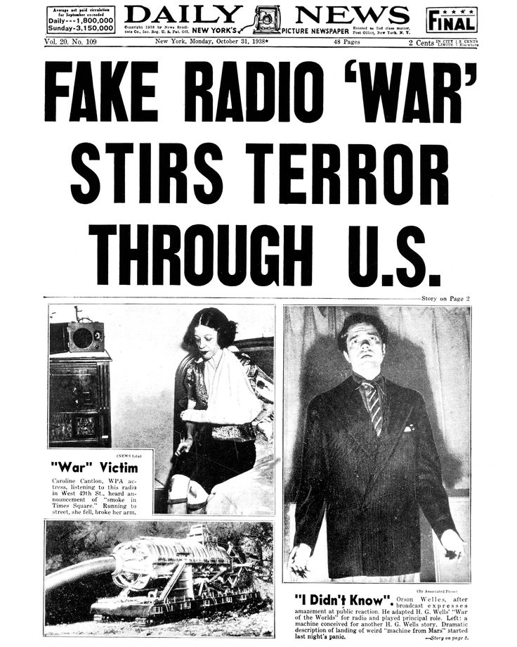 Here S What Halloween Was Like The Year You Were Born War Of The Worlds World Radio Newspaper Headlines