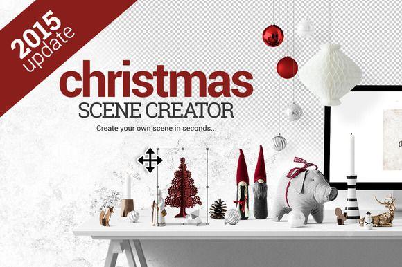 Christmas Scene Creator + BONUS ~ Product Mockups on Creative Market