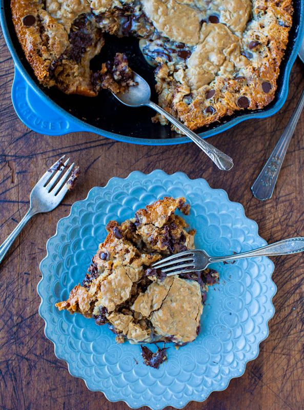 Averie Cooks » Chocolate Chip Peanut Butter Oatmeal Skillet Cookie Looks soooo good but must find a substitute for the sweetened condensed milk.