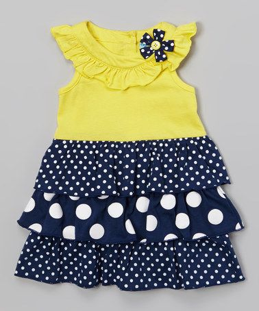 This Yellow & Navy Polka Dot Ruffle Dress - Infant & Girls by Samara is perfect! #zulilyfinds