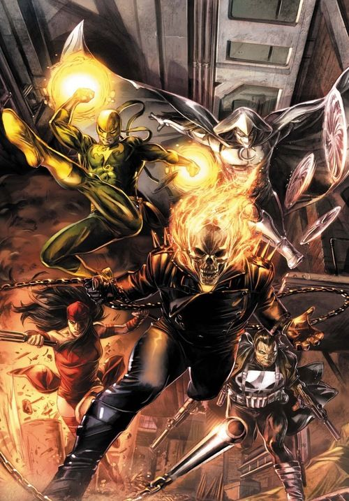 The Marvel Knights   Moon Knight  Punisher  Ghost Rider  Elektra  and Iron Fist