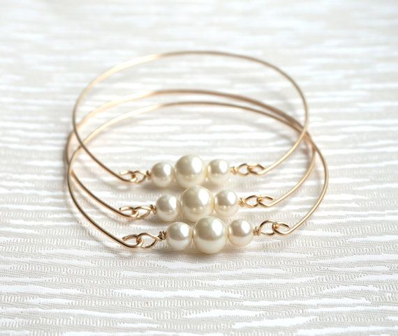 Damigella d'onore Bangle Bracciale avorio oro Bangle Bracciale vetro avorio perla gioielli damigella gioielli d'oro gioielli damigella d'onore regalo di nozze