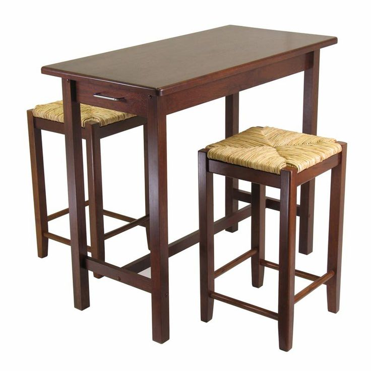 Winsome Wood 3-Piece Pub Set with Rush Stools - Indoor Bistro Sets at Hayneedle