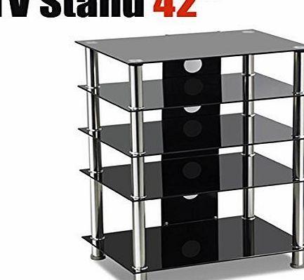 tinkertonk Black Glass 5-tier Shelf Table LCD LED TV Stand 15``-42`` Approx. Size:23.6 x 15.6 x 31.5  Back Board: 20cm x 74cm/8 x 29(Wamp