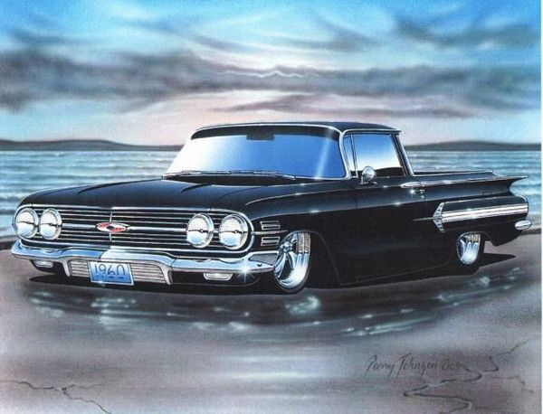 1960 chevy el camino art print for sale